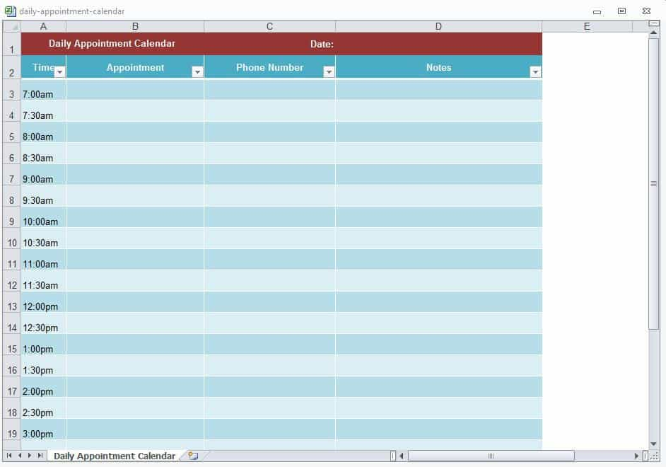 Appointment Scheduling Template - Word Excel