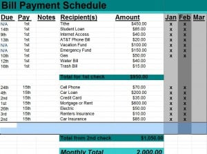 bill payment schedule template word excel