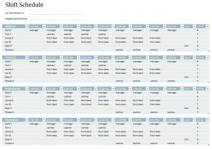 schedule sheets for employees