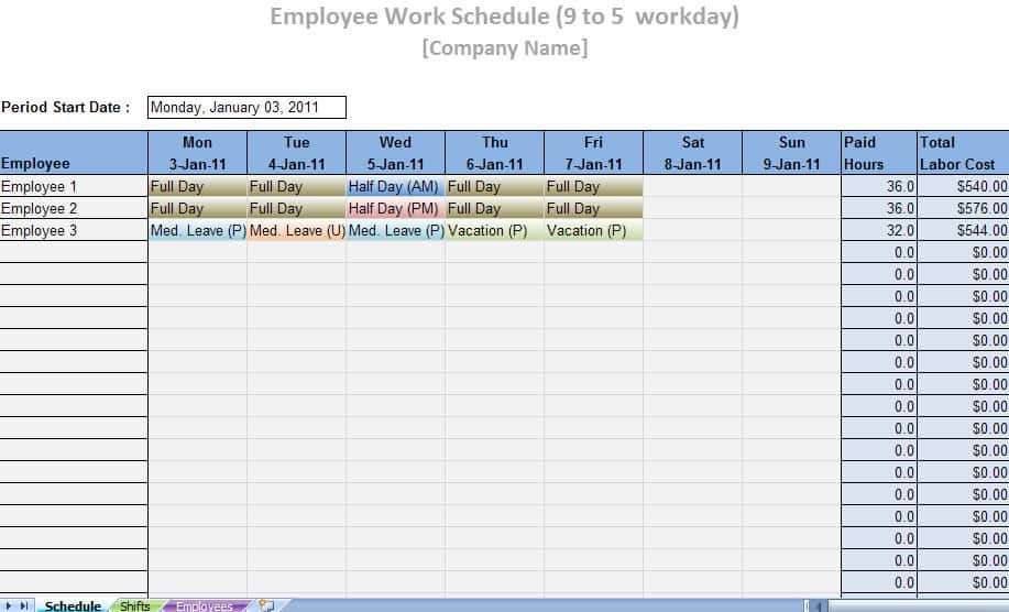labor schedule template word excel