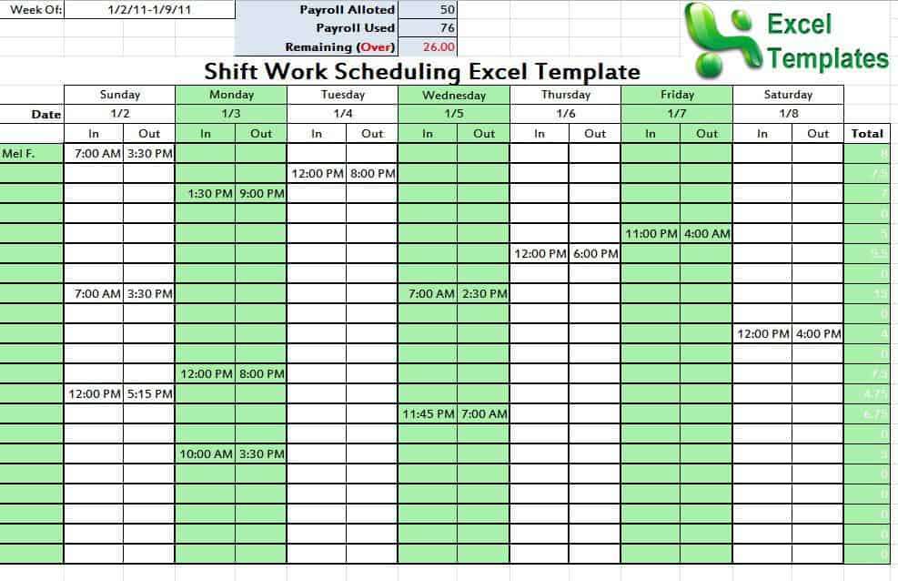 Shift Schedule Template - Word Excel