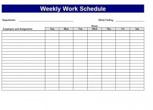 work scheduling template