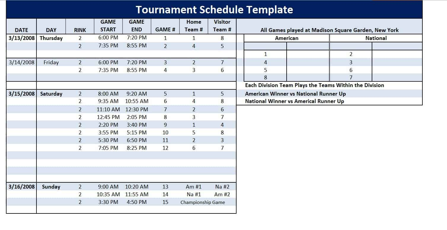 Tournament schedule template 28 images image gallery for Baseball schedule template free