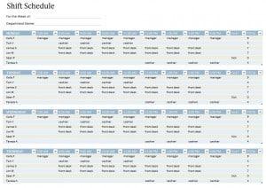 Employee Shift Schedule Template Word Excel
