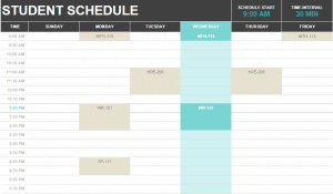 School schedule template