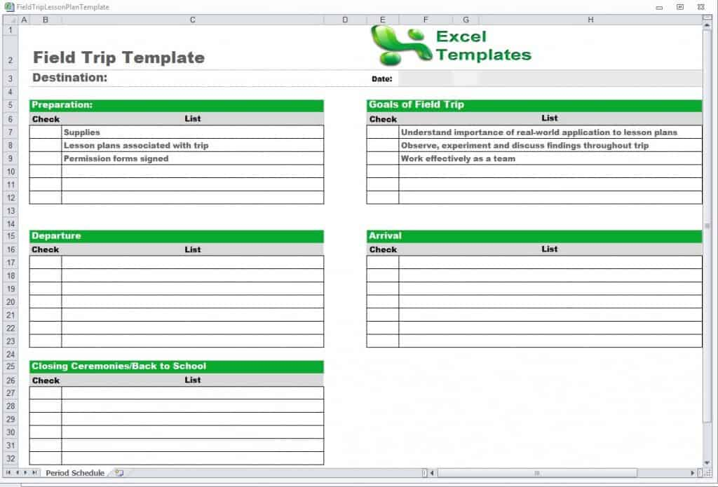 Trip Schedule Template - Word Excel