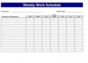 weekly work schedule generator