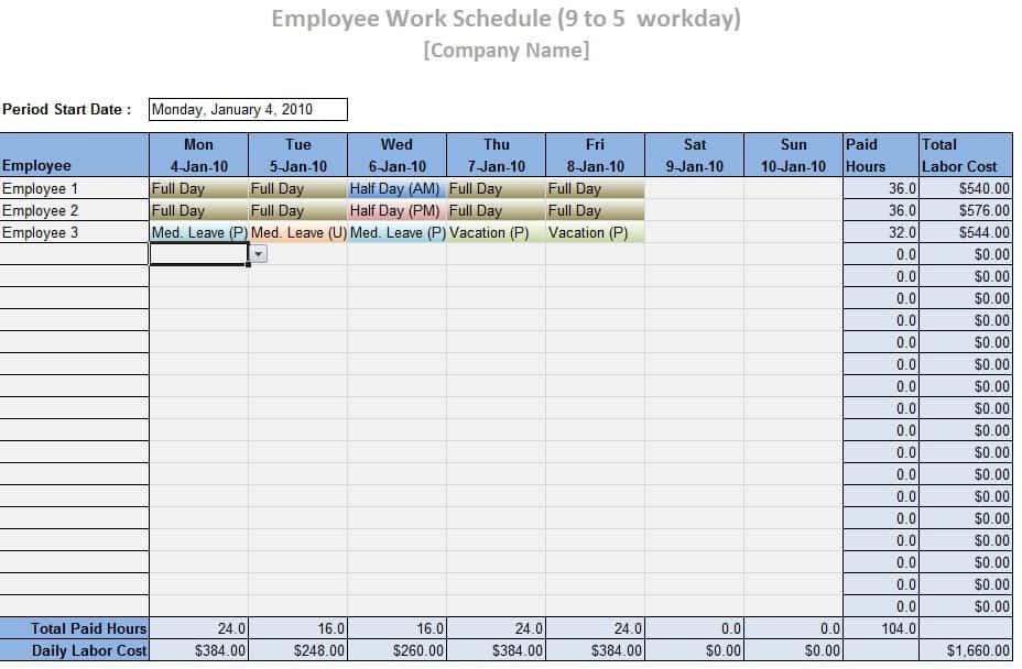 sample employee work schedule template