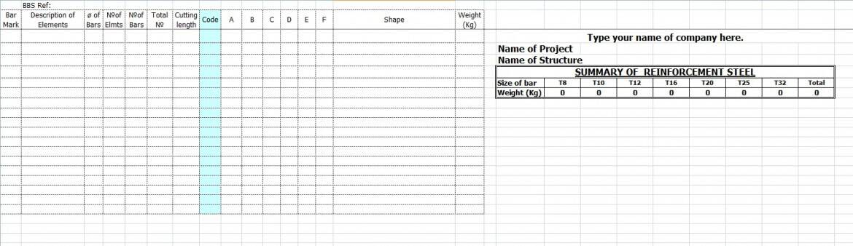 Bar bending schedule template